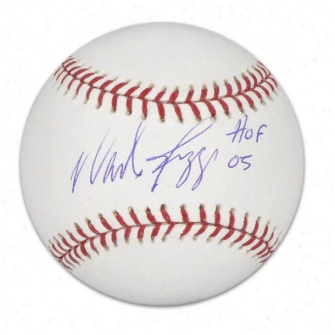 Wade Boggs Autographed Basebwll  Details: Hof 5 Inscription