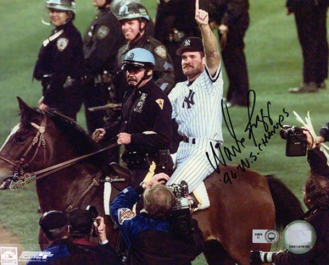 Wade Boggs Autographed Photograph  Details: New York Yankees, 96 Ws Champs Inscription, 8x10