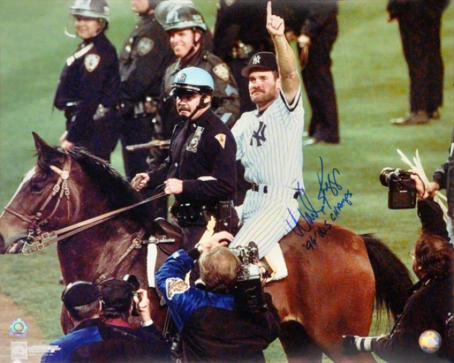 Wade Boggs New York Yankees - On Steed - 16x20 Autographed Photograph With 98 Champs Inscription