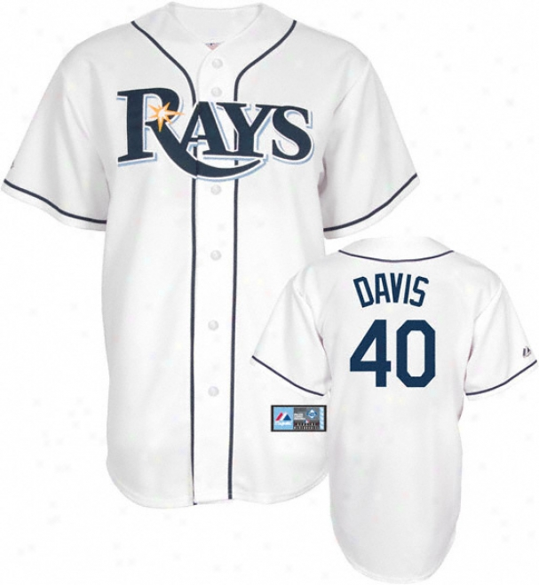 Wade Davis Jersey: Adult Majestic Home White Replica #40 Tampa Bay Rays Jersey