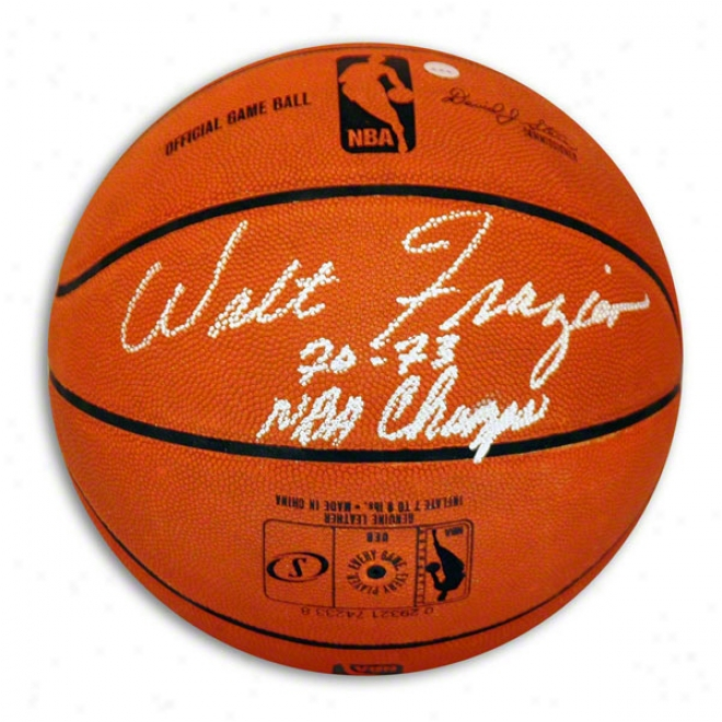 Walt Frazier Autographed Official Nba Basketball Inscrib3d 7073 Nba Cuamps