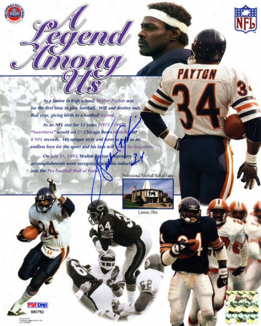 Walter Payton Chicabo Bears - Legend Among Us - Autographed 8x10 Photograph