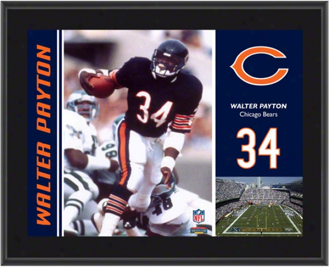 Walter Payton Plaque  Details: Chicago Bears, Sublimated, 10x13, Nfl Plaque