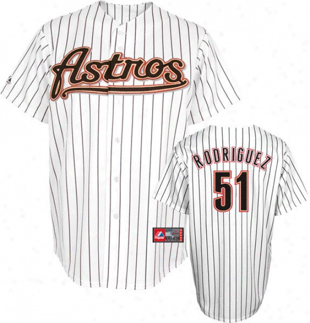 Wandy Rodriguez Jersey: Adult Majestic Home Pinstripe Replica #51 Houston Astros Jersey