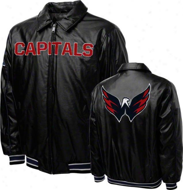 Washington Capitals Faux Leather Full-zip Varsity Jacket