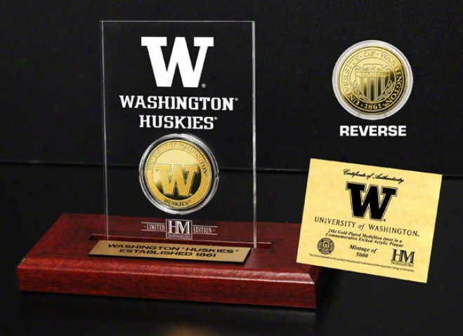 Washington Huskies 24kt Gold Coin In Etched Acrylic