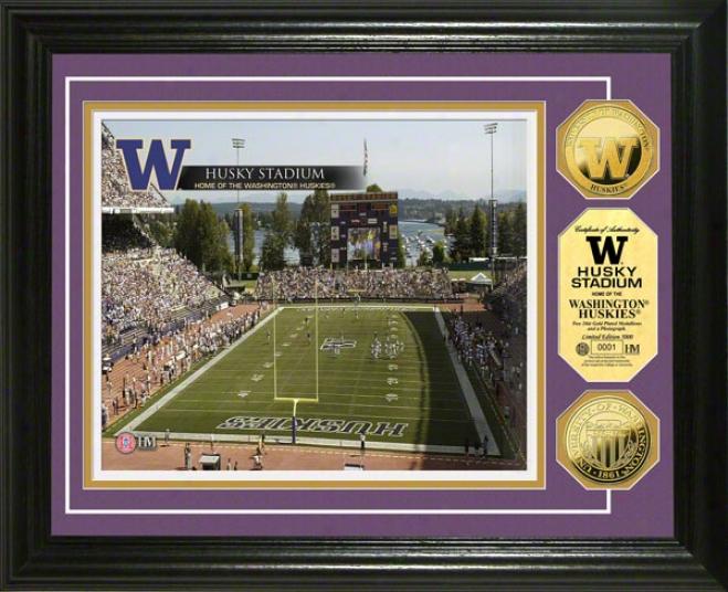 Washington Huskies Husky Stadium 24kt Gold Coin Photo Mint