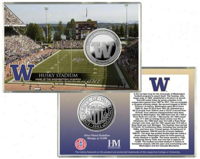Washington Huskies Husky Stadium Silver Coin Card