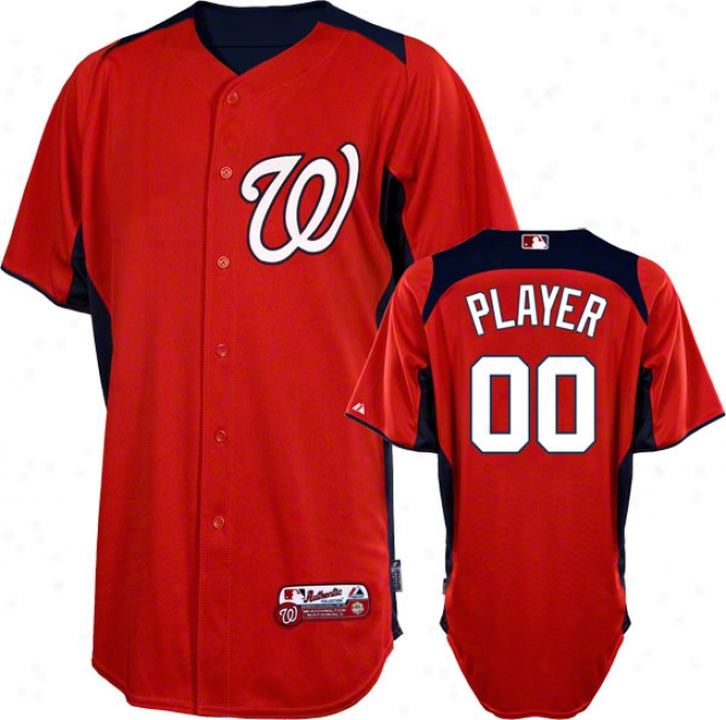 Washington Nationals Jersey: Any Player Authentic Scarlet Ob-field Batting Practice Jersey