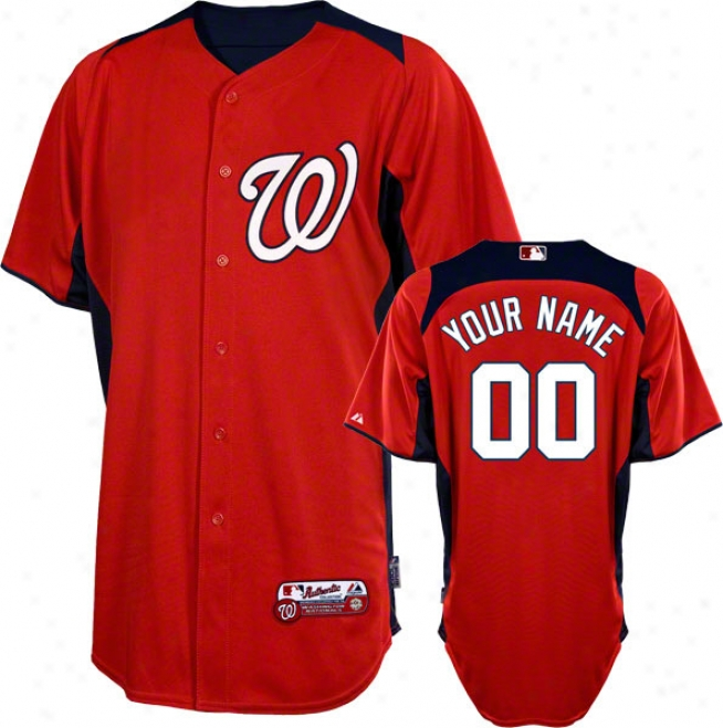 Washington Nationals Jersey: Personalized Authentic Scarlet On-field Batting Actions Jersey