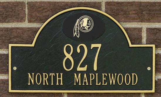 Washington Redskins Negro And Gold Personalized Address aWll Plaque