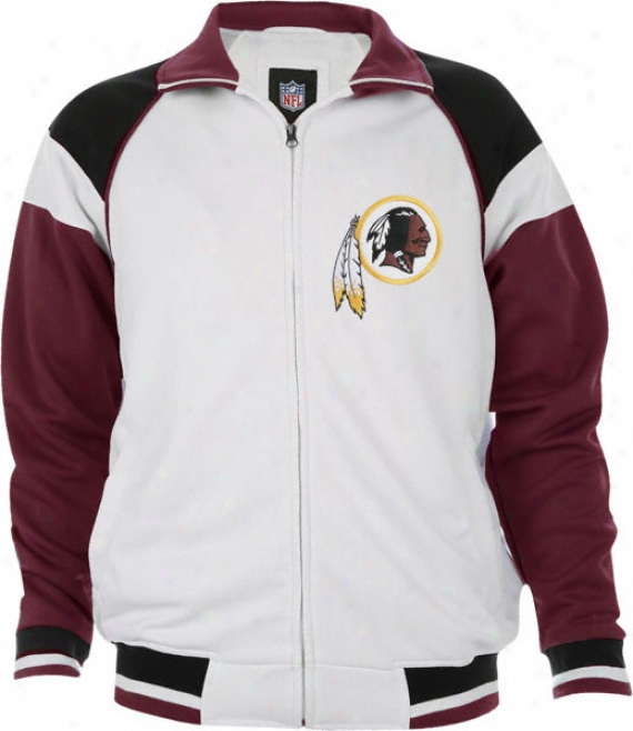 Washington Redskins White Poly Knit Track Jacket