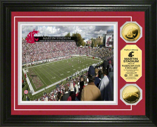 Washingtonn Rank Cougars Martin Stadium 24kt Gold Coin Photo Mint