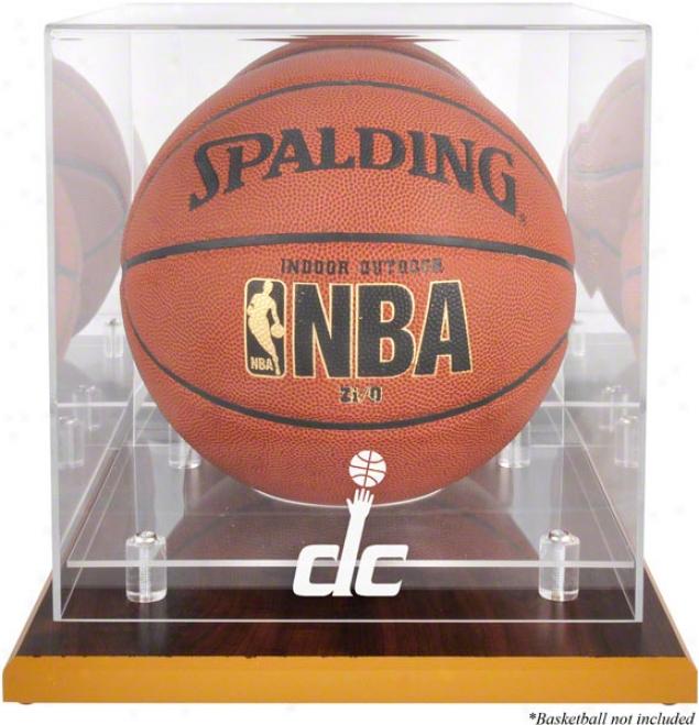Washington Wizards Woodbase Logo Basketball Display Case And Mirror Back