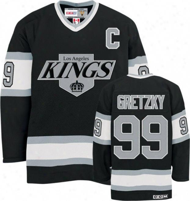 Wayne Gretzky Black Reebok Heroes Of Hockey Los Anggeles Kongs Jersey