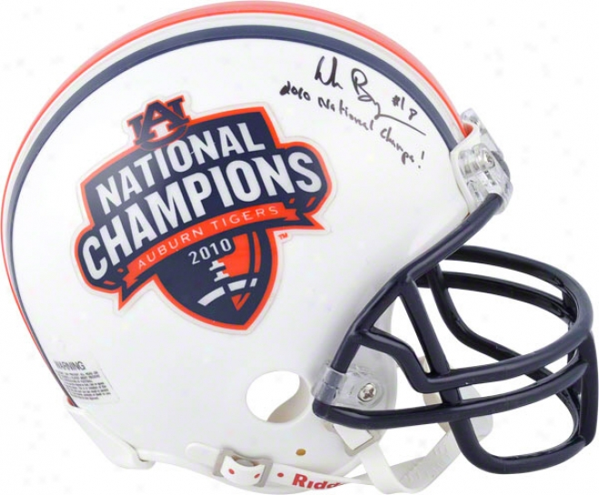 Wes Byrum Auburn Tigers Autographed Half National Champils And Half Auburn Tigers Mini Helmet W/ Inscription &quot2010 National Champs&quot
