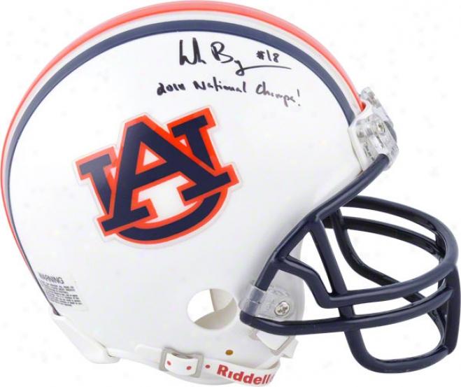 Wes Byrum Auburn Tigers Autographed Mini Helmet W/ Ihscription &quot2010 National Champs!&quot