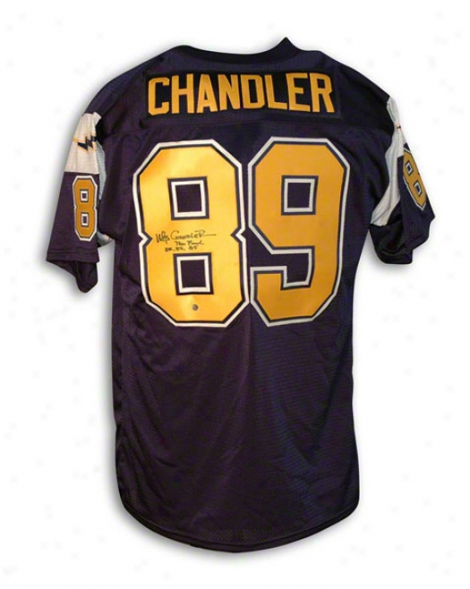 Wes Chandler Autographed San Diego Chargers Throwback Jersey Insctibed &quotprowbowl 82 83 85&quot