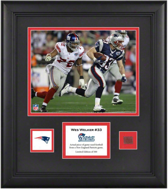 Wes Welker Framed 8x10 Photograph  Details: New England Patriots, With Game Used Football Part And Descriptive Lamina