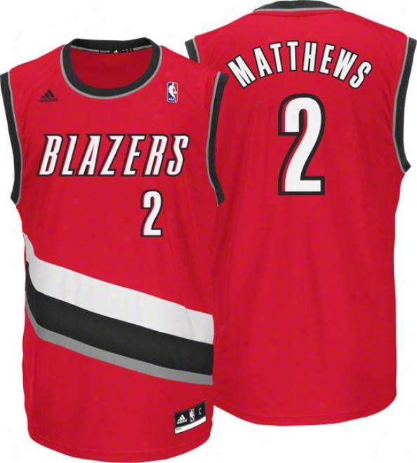 Wesley Matthews Jersey: Adidas Red Replica #2 Portland Trail Blazers Jersey