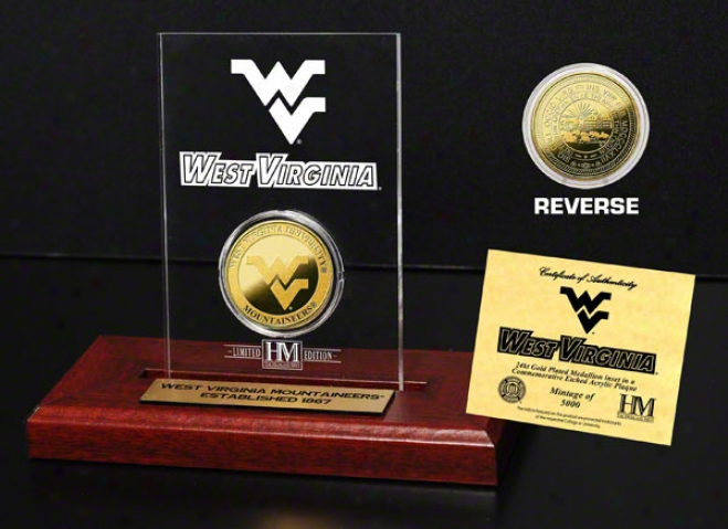 West Virginia Mountaineers 24kf Gold Coin In Etched Acrylic