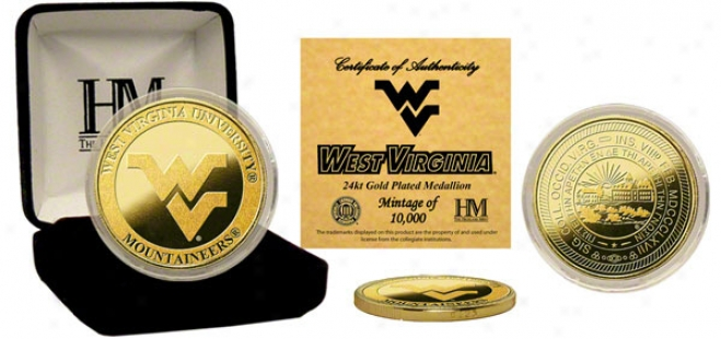 West Virginia Mountaineers 24kt Gold Coin