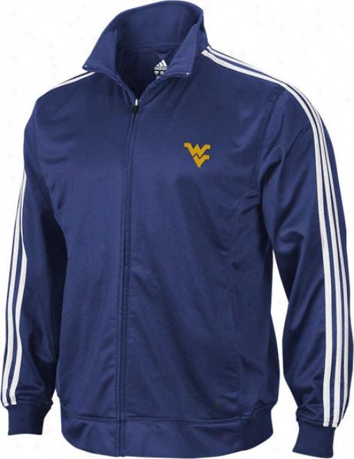 West Virgonia Mountaineeers Adidas Navy 3-stripe Track Jacket
