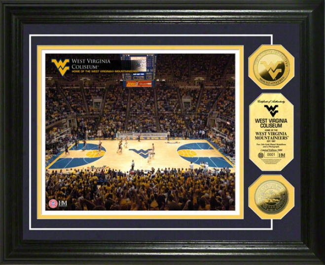 West Virginia Mountaineers Coliseum 24kt Gold Coin Photo Mint