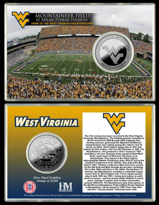 West Virginia Mountaineers Mountaineer Field Silver Coin Card