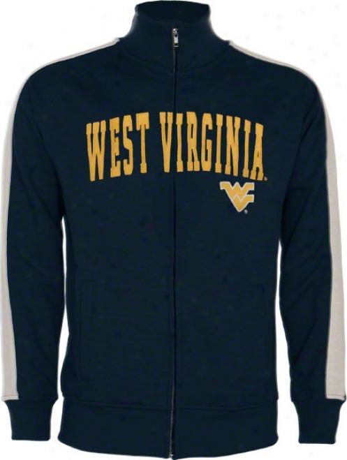 West Virginia Mountaineers Navy Pinnacle Slub French Terry Track Jacket