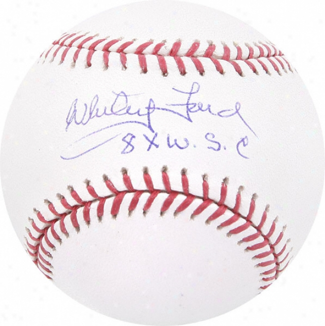 Whitey Ford Autographed Baseball  Details: 8x Champs Inscription