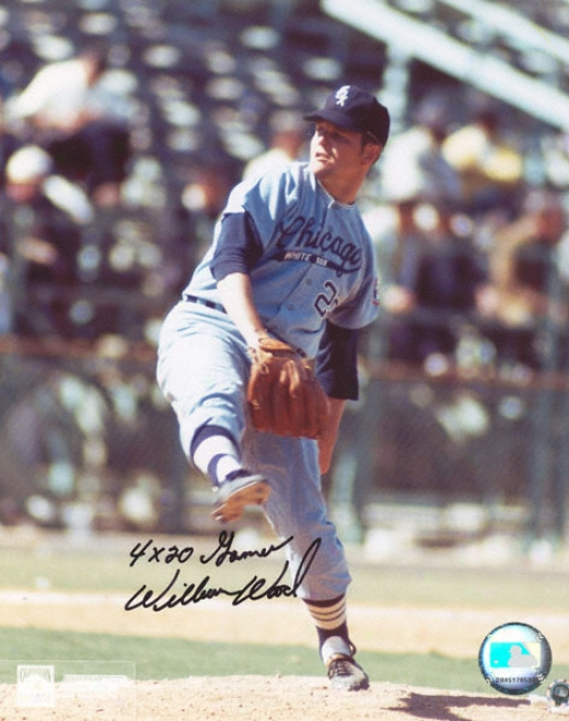 Wilbur Wood Chicago Happy Sox 8x10 Autographed Photograph With ''4x20 Games'' Inscription
