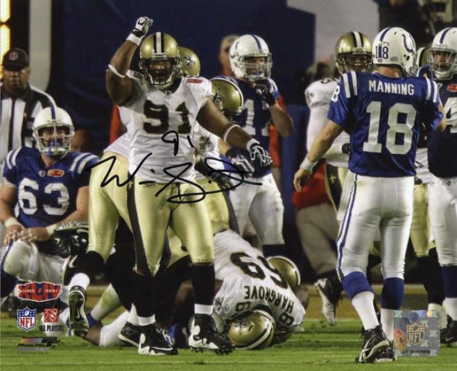 Will Smith New Orleans Saints Sb Xliv Autographed 8x10 Photograph