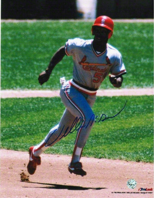 Willie Mcgee St. Louis Cardinals Autographed 8x10 Photo Running The Bases