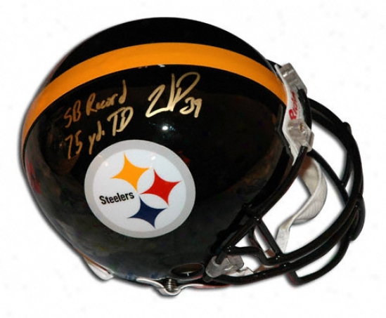 Wjllie Parker Autographed Pro-line Helm  Details: Pittsburgh Steelers, With ''sb Record 75 Yd Td Run'' Inscription, Authrntic Riddell Helmet