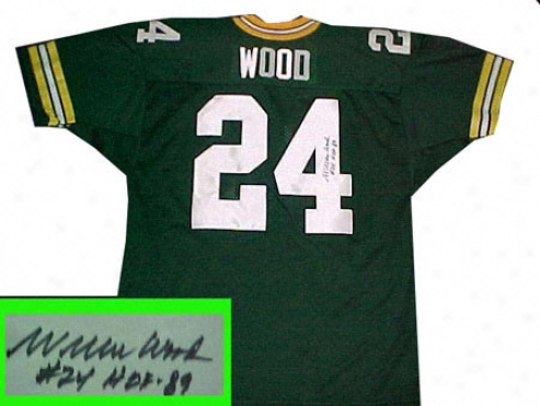 Willie Wood Green Bay Packers Autographed Green Throwback Jersey