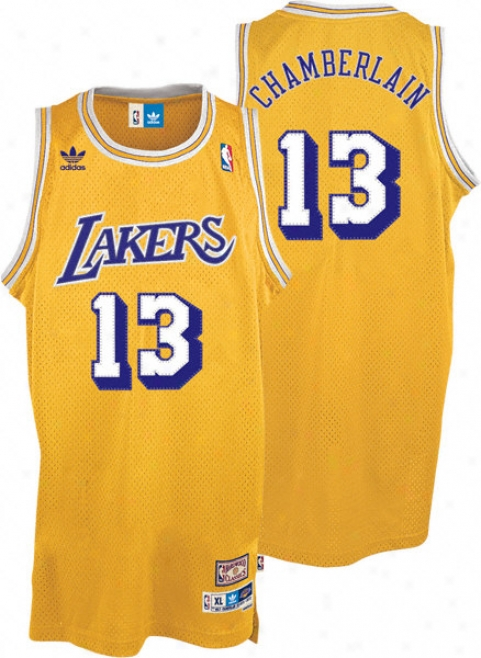 Wilt Chamberlakn Jersey: Adidas Gold Throwback Swingman #13 Los Angeles Lakers Jersey