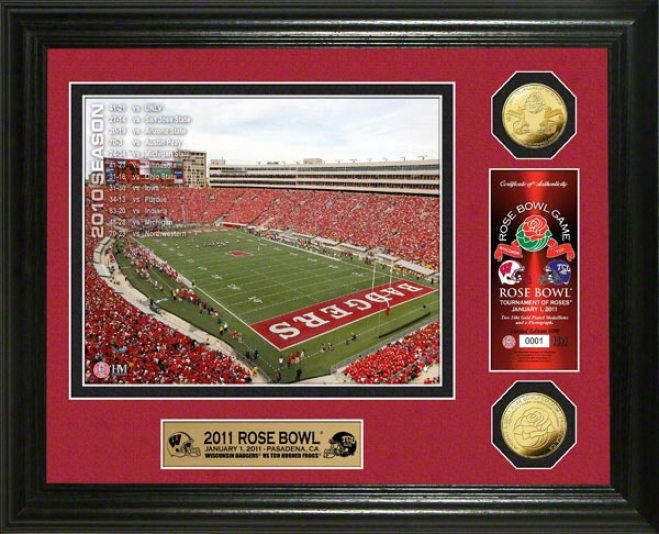 Wisconsin Badgers 2011 Rose Bowl 24kt Gold Coi nPhoto Mint