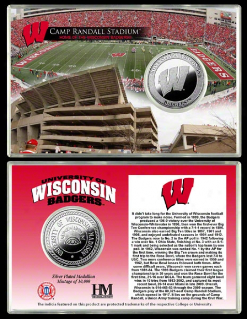 Wisconsin Badgers Camp Randall Stadium Silver Coin Caard