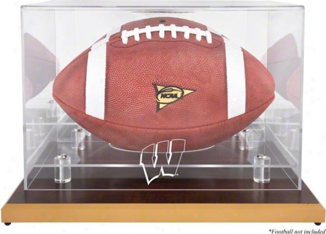 Wisconsin Badgers Football Logo Dsplay Declension-form  Details: Wood Base