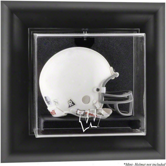 Wisconsin Badgers Framed Logo Wall Mounted Mini Helmet Display Case