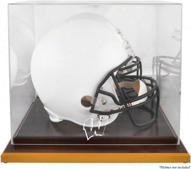 Wisconsin Badgefs Logo Helmet Parade Case  Details: Wood Base, Mirrored Back