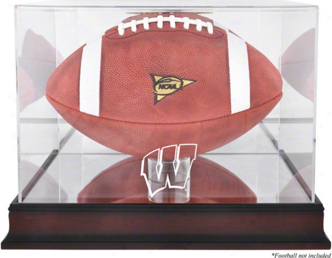 Wisconsin Badgers Mahogany Foootball Case With Mirror Back