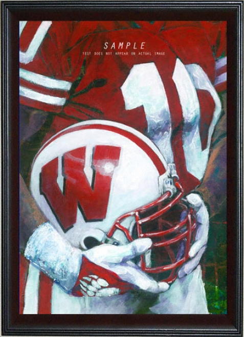 Wisconsin Badgers - &quotu Of W Helm Series&quot - Oversized - Framed Giclee