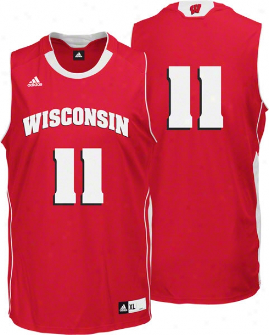 Wisconsun Badgers Red Adidas #11 Replica Basketball Jersey