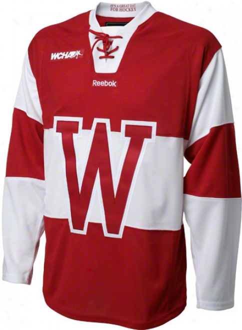 Wisconsin Badgers Reebok Red Alternate Premier Hockey Jersey