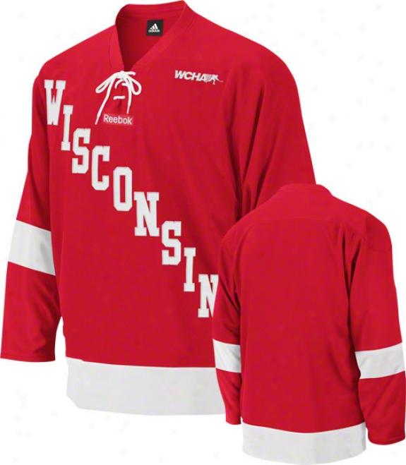 Wisconsin Badgers Reebok Red Premier Hockey Jersey
