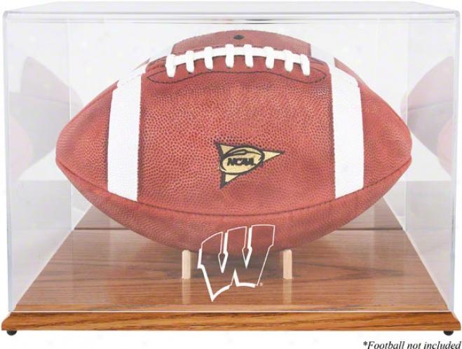 Wisconsin Badgers Team Logo Football Display Case  Details: Oak Base