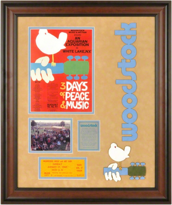 Woodstock Music Festival Framed Ticket  Particulars: Replica Poster, 4x5-photographgraph