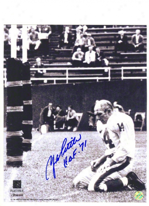 Y.a. Tittle Autographed New York Giants 16x20 Photo Inscribed &quothof '71quot